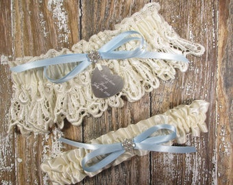 Something Blue Wedding Garter Set in Ivory Venice Lace with Personalized Engraving, a Bow and Rhinestones