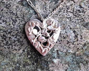 Fine Silver Heart Pendant with Entwined Leaves and Tendrils