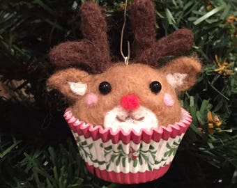 Needle felted reindeer cupcake ornament/small