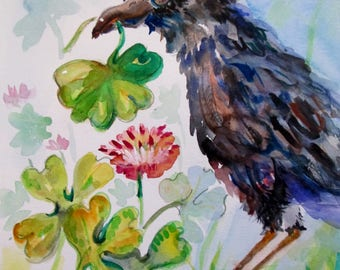 Shamrock crow Irish bird 12x9 original watercolor painting Art by Delilah