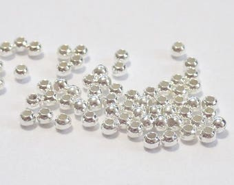 Pack of 100, 925 sterling silver seamless 1.8mm round bead / spacer, 0.9mm hole [our ref 4255]