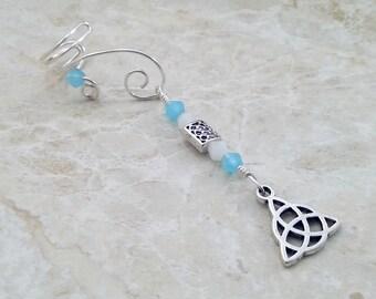 Celtic Triquetra Ear Cuff Blue Opal, Gift for Her, Something Blue, Bridal Ear Cuff