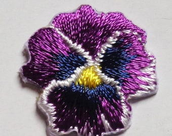 pansy small flower violet iron on patch