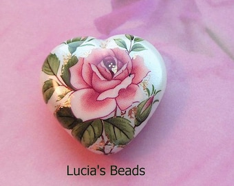 Lovely  Pink Rose on Pearl Japanese Tensha Heart Bead