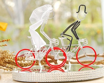 Wedding Cake Topper, Bicycle Wedding Cake Topper, Handmade, Road Bike Cake Toppers, Mr and Mrs Road Bikes with Red Wheels.