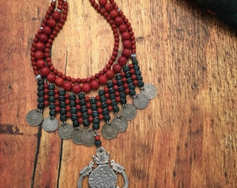 Unique Guatemalan Jade and Coral Statement Necklace