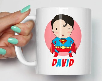 Personalised Superman Themed Mug | Gift For Him Or Her | Custom Birthday Christmas Gifts | Superman Fan Art Any Name | Made To Order Mugs
