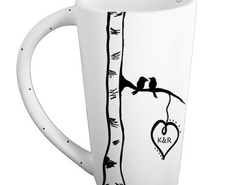 Birch tree initials mug pottery mug bird heart personalized mug love friends wedding gift anniversary custom mug 9th anniversary rustic home
