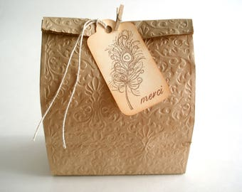 Étiquettes Cadeaux Merci, Plume de Paon, Feather Favor Tags, Merci Gift Tags, Wedding Wish Tags