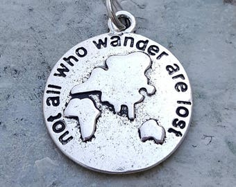 """Silver """"not all who wander are lost"""" quote charms pendants jewelry, Tolkien theme gifts, antique silver hope charms, mothers day gifts"""