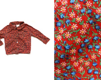 vintage girls shirt blouse childrens clothing button down red calico floral print peter pan collar toddler size 2t