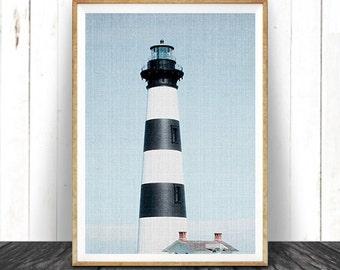 Lighthouse Photography Wall Art Print, Coastal, Nautical, Beach Home Decor, Large Printable Poster, Digital Download, Colour Photo