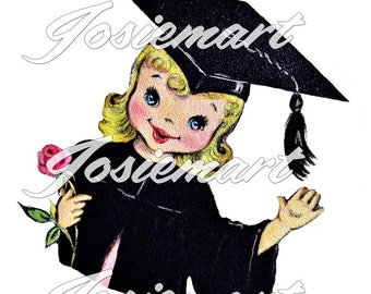 Vintage Digital Download Girl Graduation Vintage Image Graduation Collage Large JPG Clipart