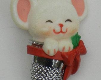 Vintage 1983 Hallmark Christmas pin, brooch, mouse, bow, thimble, holly, holiday, cute