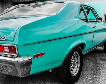 1972 Chervrolet Nova Car Photography, Automotive, Auto Dealer, Muscle, Sports Car, Mechanic, Boys Room, Garage, Dealership Art