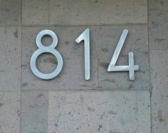 Modern house numbers (set of 4) aluminum, metal, modern font, address numbers