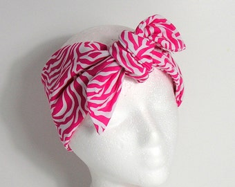Pink and White Hair Scarf Pink and White Animal Print Headband Yoga Head Wrap 100% Cotton Hair Scarf Summer Hair Scarf Neck Scarves