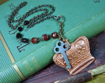 Vintage Copper Crown Key Necklace with Red Beads