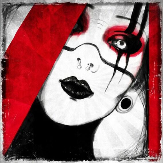 """Cyber Goth Portrait """"Monique"""" stretched canvas print"""
