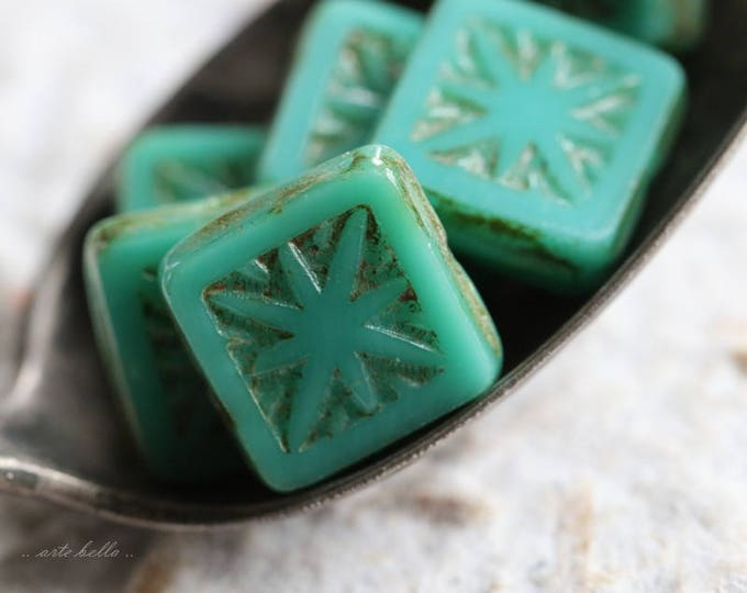 TURQUOISE SQUARES No. 2 .. 6 Picasso Czech Square Glass Beads 10mm (5788-6)