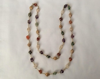 Long colorful stone necklace