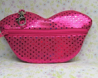 Hot Lips Coin Glitzy Purse with Lobster Claw Clasp