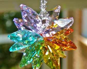 "Pastel Rainbow Swarovski Crystal Suncatcher, Rainbow Maker Prism, Crystal Window Ornament, Crystal Cluster - ""LEXI"""