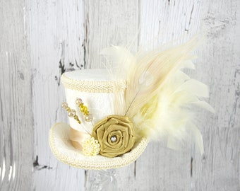 Ivory, Cream and Toffee Lace Wedding Medium Mini Top Hat Fascinator, Alice in Wonderland, Mad Hatter Tea Party, Derby Hat, Bridal Hat