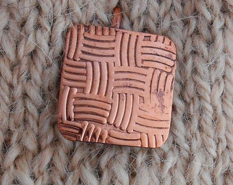 Shawl pin copper with Woven design - NEW!