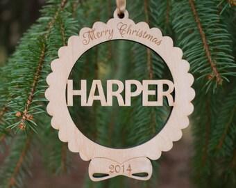 Personalized Christmas ornament ,  Custom Name Christmas ornament , laser cut wooden engraved ornament