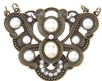 Metal Gallery Antique Brass Soutache Pendant with Pearls