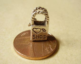 Sterling Silver Love To Shop Handbag Charm