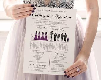 Silhouette Wedding Program - Wedding Party Silhouette Program DEPOSIT - Meet the Bridal Party Silhouette Wedding Program Fan | WE print