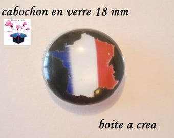 1 cabochon clear domed 18mm french flag series