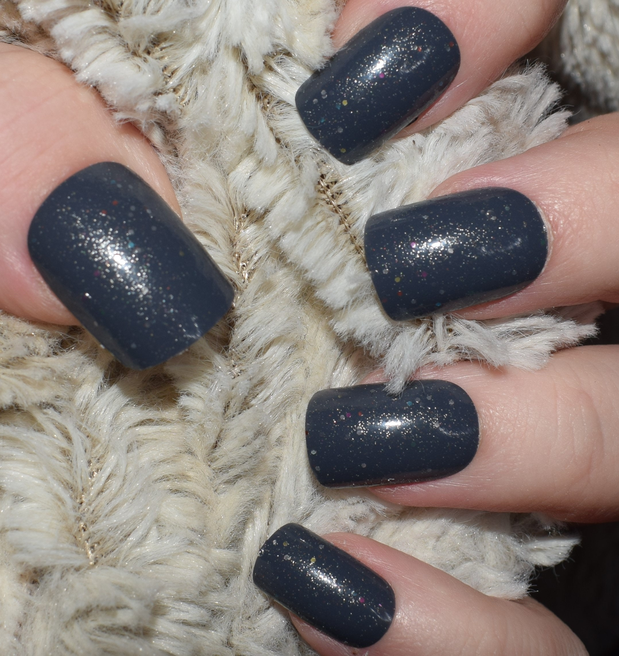 Dark Grey Nails Fake Nails, Medium Short False Nails, Hand Painted ...