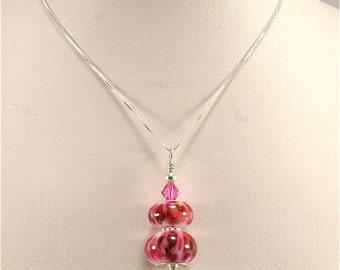 White Pink Handmade Glass Lampwork Pendant, SRAJD, DUST Team