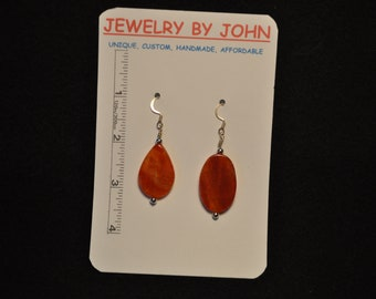 Orange Colored Stones with Silver Beads on Ear Wires