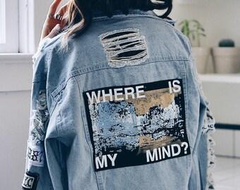 KPOP Where is my mind Jacket Jeans Women's Denim Jacket  Design Cotton | BTS Denim Jacket | Jin bts | bts kpop | bt21 | jean denim |