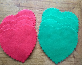 4 red & 4 green diecut felt hearts