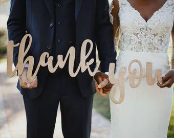 Wedding Thank You Sign, Rustic Wedding Photo Props for DIY Thank you Cards, Thank You Photo Prop Sign, Bride & Groom Photography Decor