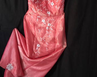 Evening Gown/One of a Kind Irridescent Salmon/By Bow Tie Collection/Size 6