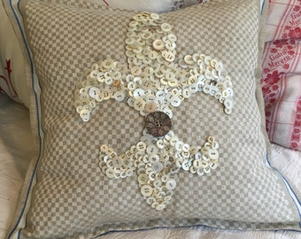 Fleur de Lis pillow with Mother of Pearl Buttons