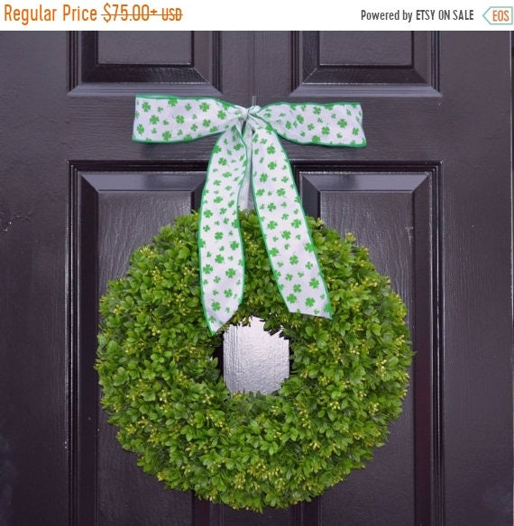 SPRING WREATH SALE Shamrock Boxwood St Patrick Day Wreath St Patricks Day Boxwood Wreath- Irish Decor- Door Wreath- Removable Bow Year Round
