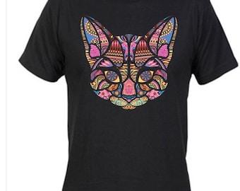 Custom 2 shirts with mosaic cat on back