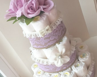 Purple Diaper Cake Baby Shower Decoration