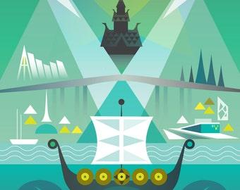Visit Norway Poster - Large Digital print. 297 x 420 mm (A3)