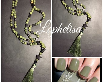 Necklace beads semi precious jade