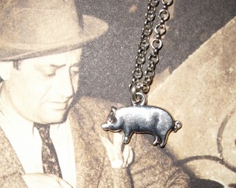 Pig Necklace, Silver Pig Charm, Male Chauvinist Pig, Pig Pendant, Pig Charm Necklace, Simple Necklace, Piggy Necklace, Animal Jewelry