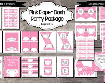 Baby Shower Party for Diaper Bash or Diaper Party (Pink) - Digital, Editable, Printable File - Instant Download