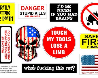 LOT of 10 Hard HAT Decals Stickers Outdoor/Indoor Lockers Tool Boxes Anywhere FUN